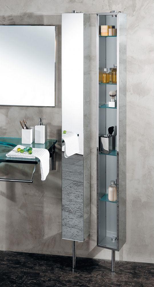 Armoire Avec Miroir Pivotante En Inox Avec 6 Etageres En Verre Transparent Armoire Avec Miroir Etagere En Verre Salle De Bain