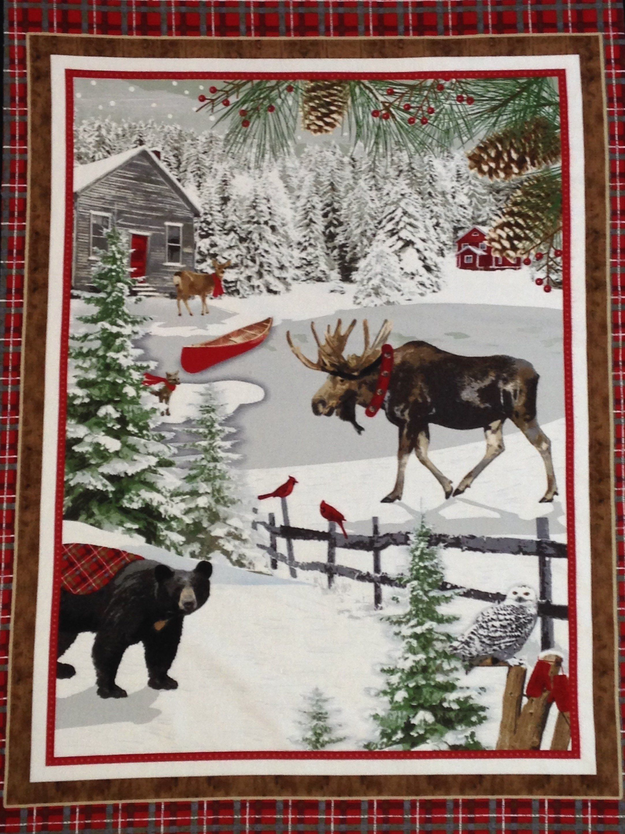 "Merry Christmas Woodland Deer Panel 100/% cotton Fabric by the panel  36/"" X 42/"""