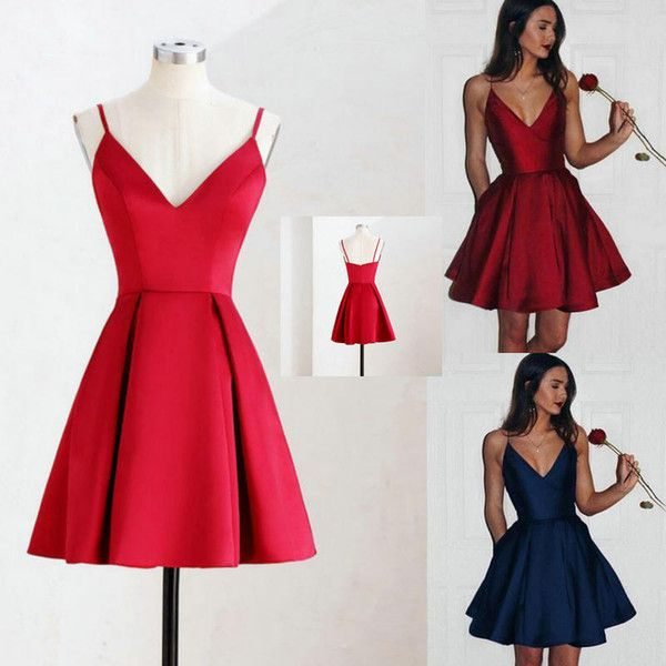 Little Red High Low Tea Length Short Cocktail Dresses 2016 New Tiered Satin Skirt Prom Dresses Sexy Backless Lace Up Evening Party Gowns Modest Dresses Nice Dresses From Myweddingdress, $126.64| DHgate.Com #backlesscocktaildress
