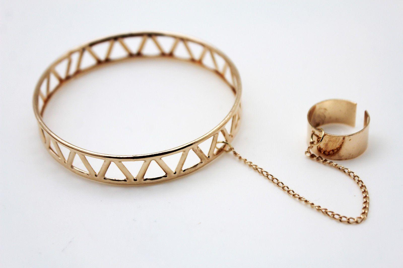 Silver gold metal hand chain slave ring wrist bracelet narrow