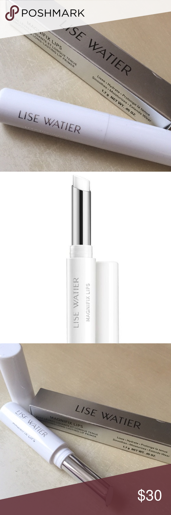 Magnifix Lip Primer LISE WATIER Currently SOLD OUT on their site!!! Amazing lip primer that improves lipstick performance. When worn alone, creates the appearance of younger, fuller looking lips. ✅ Smoothes / Moisturizes surface of lips ✅ Makes lipstick long-lasting ✅ Paraben free Currently retails for $35 / BRAND NEW IN PACKAGE Lise Watier Makeup Lip Balm & Gloss