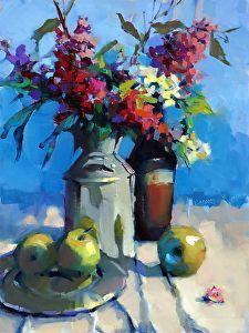 Milk Can with Lilacs by Trisha Adams Oil ~ 24 x 18
