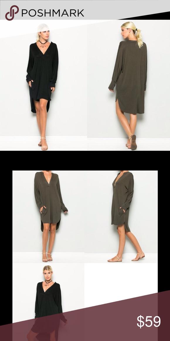b57c1a0cfca Black V Neck Long Sleeve Dress S M   Long sleeve relaxed fit deep V