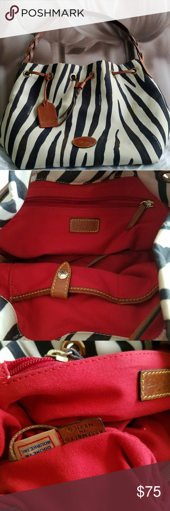 Dooney & Bourke  Handbag Tote Zebra Dooney & Bourke  Handbag Tote Zebra Drawstring?canvas  used Dooney & Bourke Bags Shoulder Bags