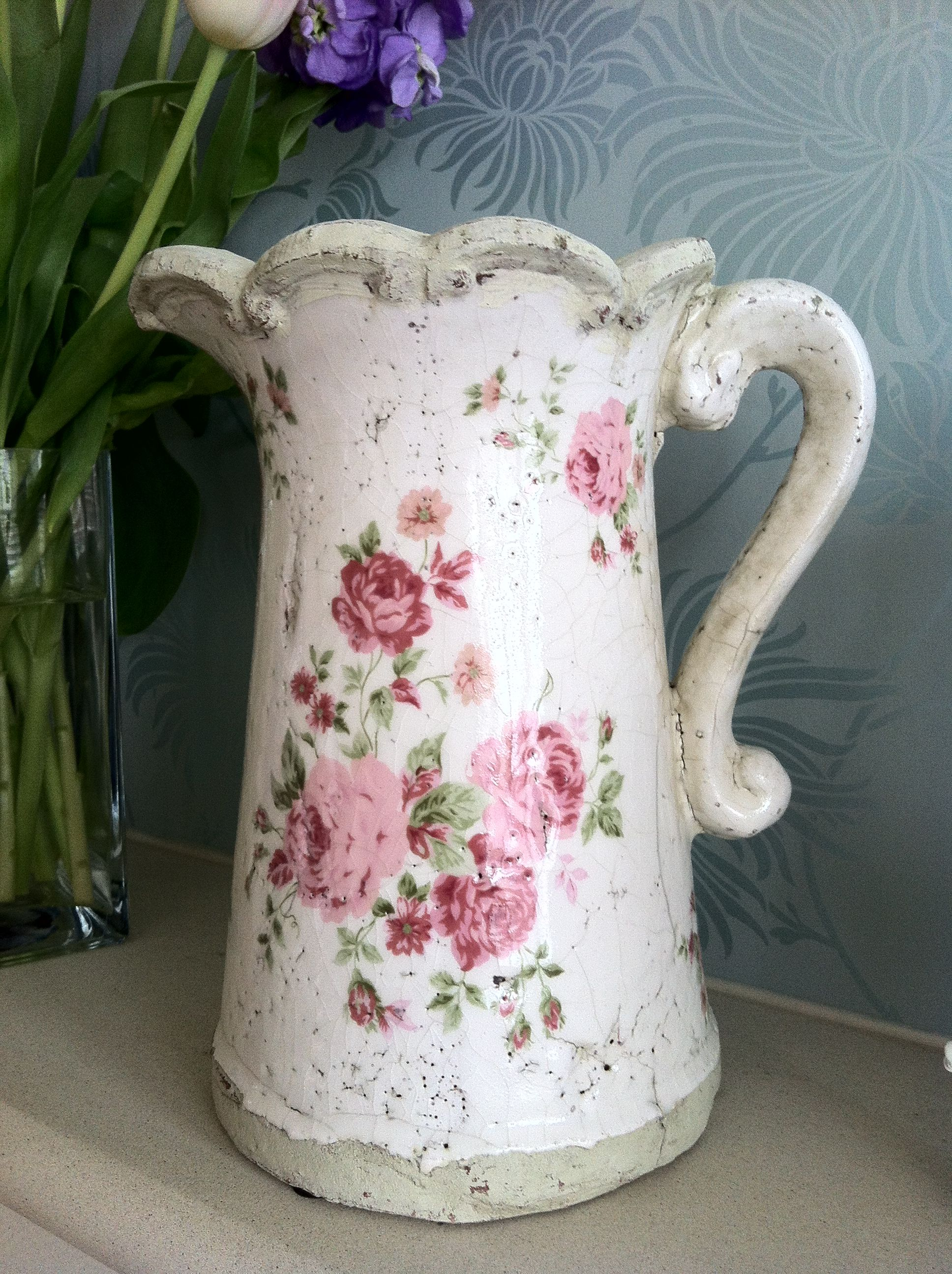Shabby Chic Pink Rose Jug With Scalloped Edge Shabby Chic Pink Shabby Chic Decor Shabby Chic Jug