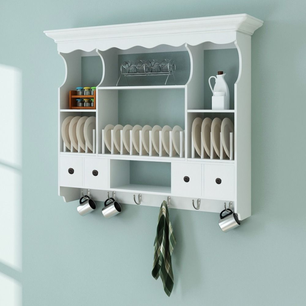 Wall Mounted Kitchen Cupboard Wooden Cabinet Storage Indoor Hanging ...