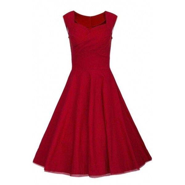 c41d90e61c1d ($30) ❤ liked on Polyvore featuring dresses, party dresses, midi dress, red  dress, vintage dresses and red knee length dress
