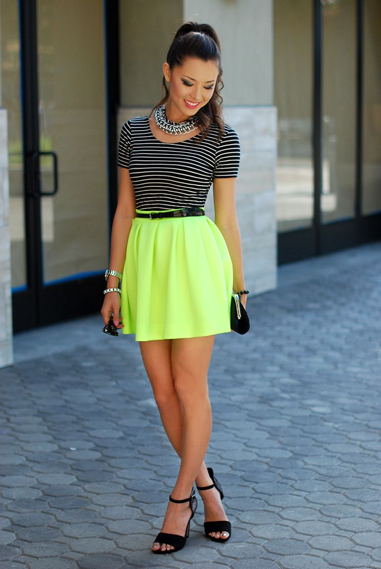 Yellow Neon skater skirt pictures pictures