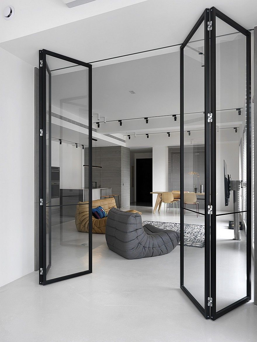 Contemporary Apartment Personalized In Gray And White In 2020 Contemporary Apartment Glass Doors Interior Home Door Design