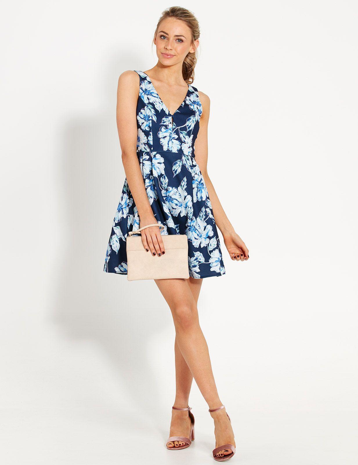 Blue Floral Fit N Flare Dress | Dotti | F A S H I O N | Pinterest ...