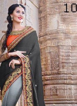 VandV Grey And Black Dual Shade Saree Buy Online