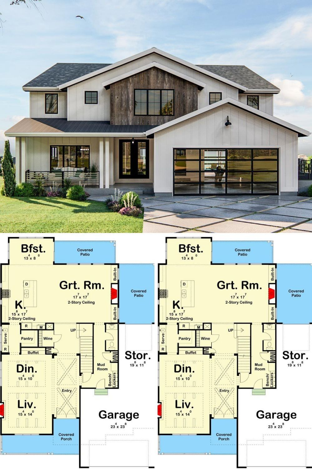 Two Story 3 Bedroom Modern Home with Exposed Beam Entryway Floor Plan