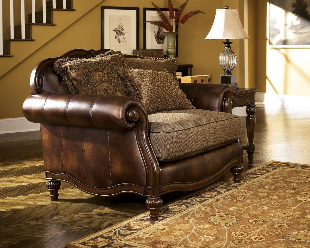 faux leather chair and a half stakmore folding new ashley old world antique traditional fabric
