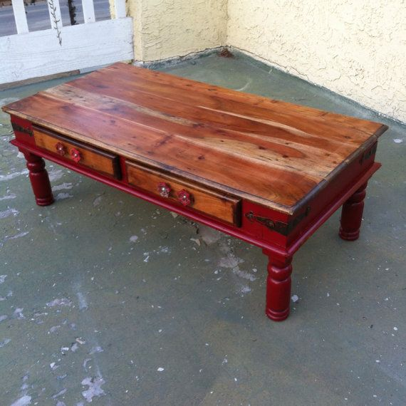 Farmhouse Red Coffee Table, Shabby Chic Coffee