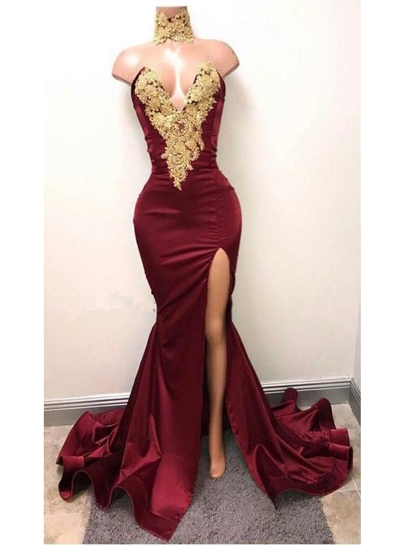d055fd4c79c Sexy V-neck Long Mermaid Lace Side Slit Prom Dresses Cheap Mermaid Prom  Dresses