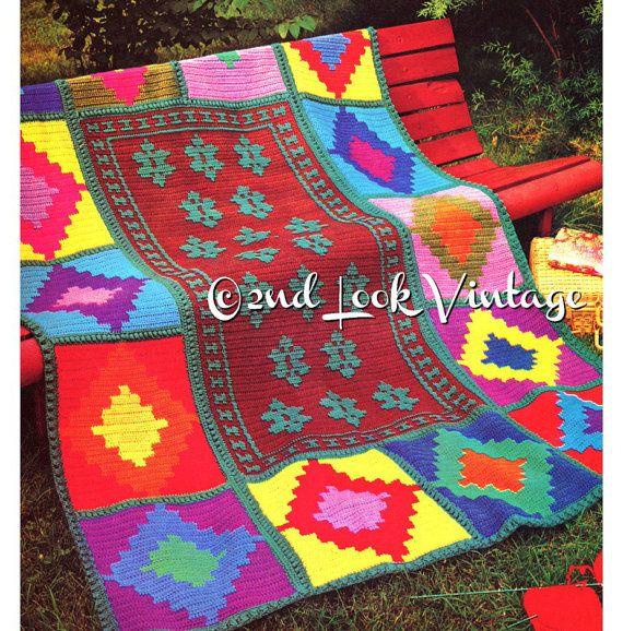 Vintage Crochet patrón indio India afgano abuela plazas de 1970 ...