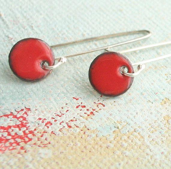 Poppy Red Earrings  Small Dangle Earrings  Simple by EnfuseJewelry, $34.00