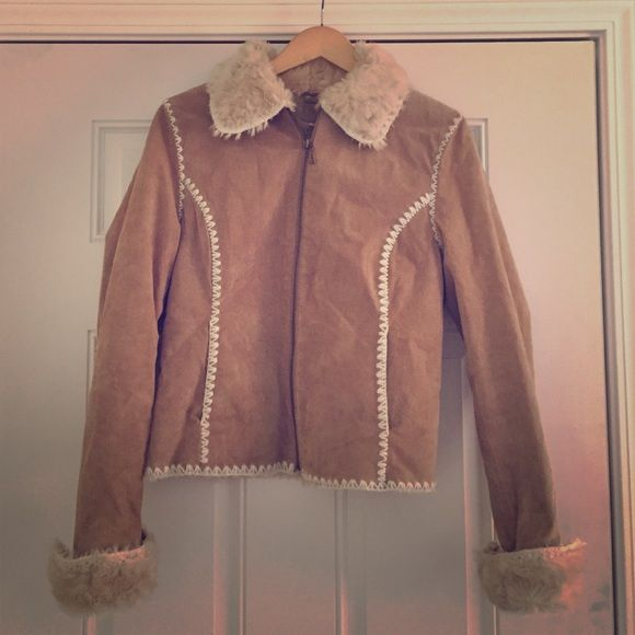 Wilson Leather real Suede and faux fur jacket Love this coat! Just trying to downsize my closet! Worn very little. In great condition! Love the white stitching! Wilsons Leather Jackets & Coats