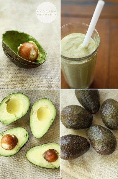 avocado smoothie: 1 ripe avocado 1 banana 1 kiwi raw almond milk raw honey or agave