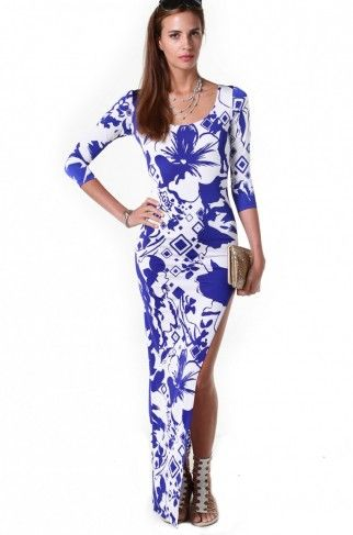 Hibiscus Tapered Maxi Dress in Royal