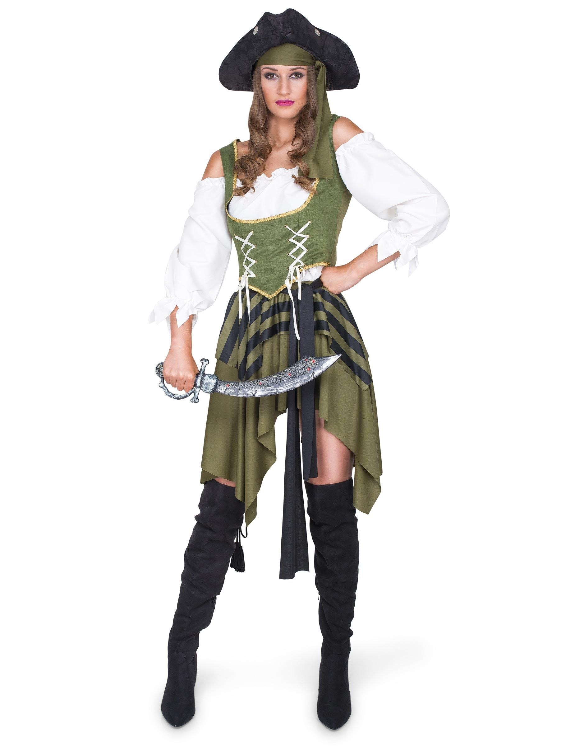 Deluxe Pirate Wig /& Bandana Ladies Fancy Dress Caribbean Adult Costume Accessory