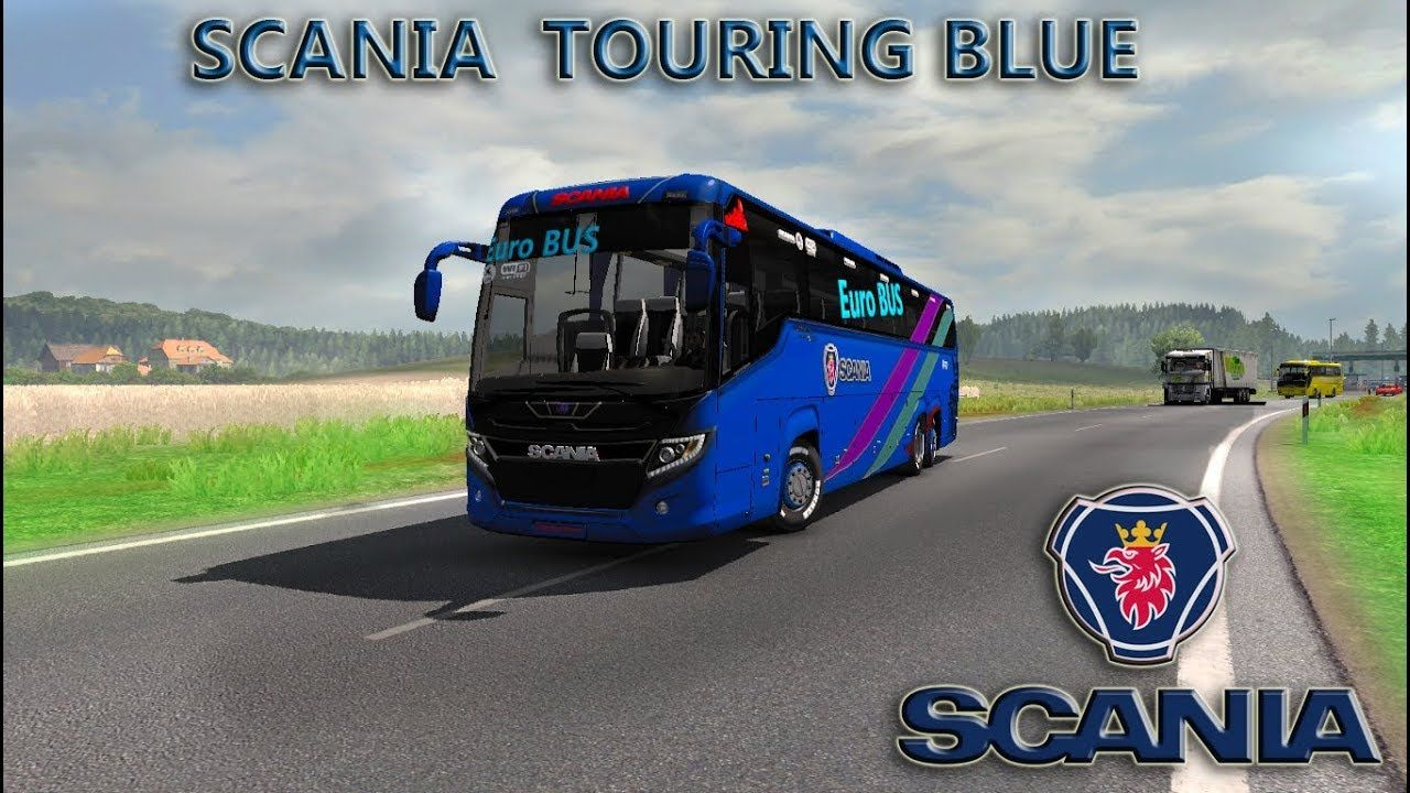 ets2 mods Scania touring Blue Euro bus HD skin with Passenger Fix