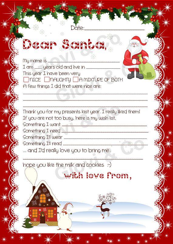 Printable Dear Santa letter Kids Christmas Christmas is