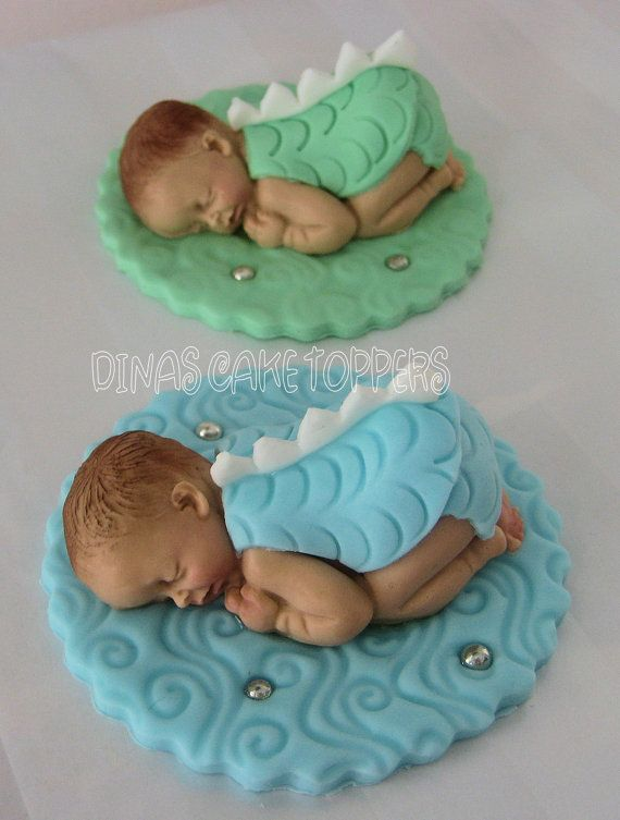Fondant Baby Dragon with Doll Single Cake Topper