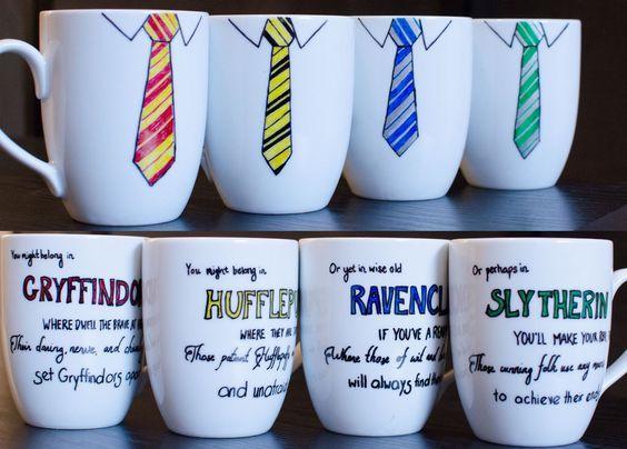 Hogwarts House Tie Mugs by redninjacreations on DeviantArt