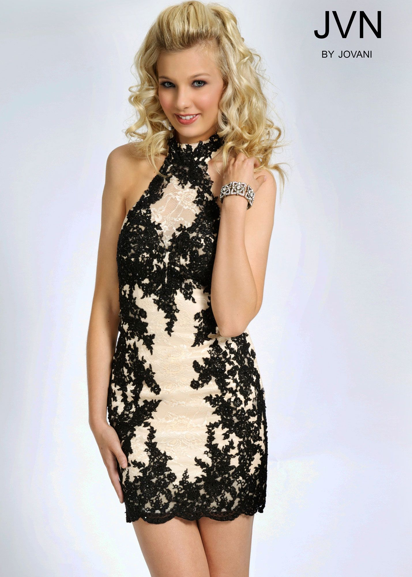 Jovani JVN99964 High Neck Halter Black & Nude Lace Dress ...