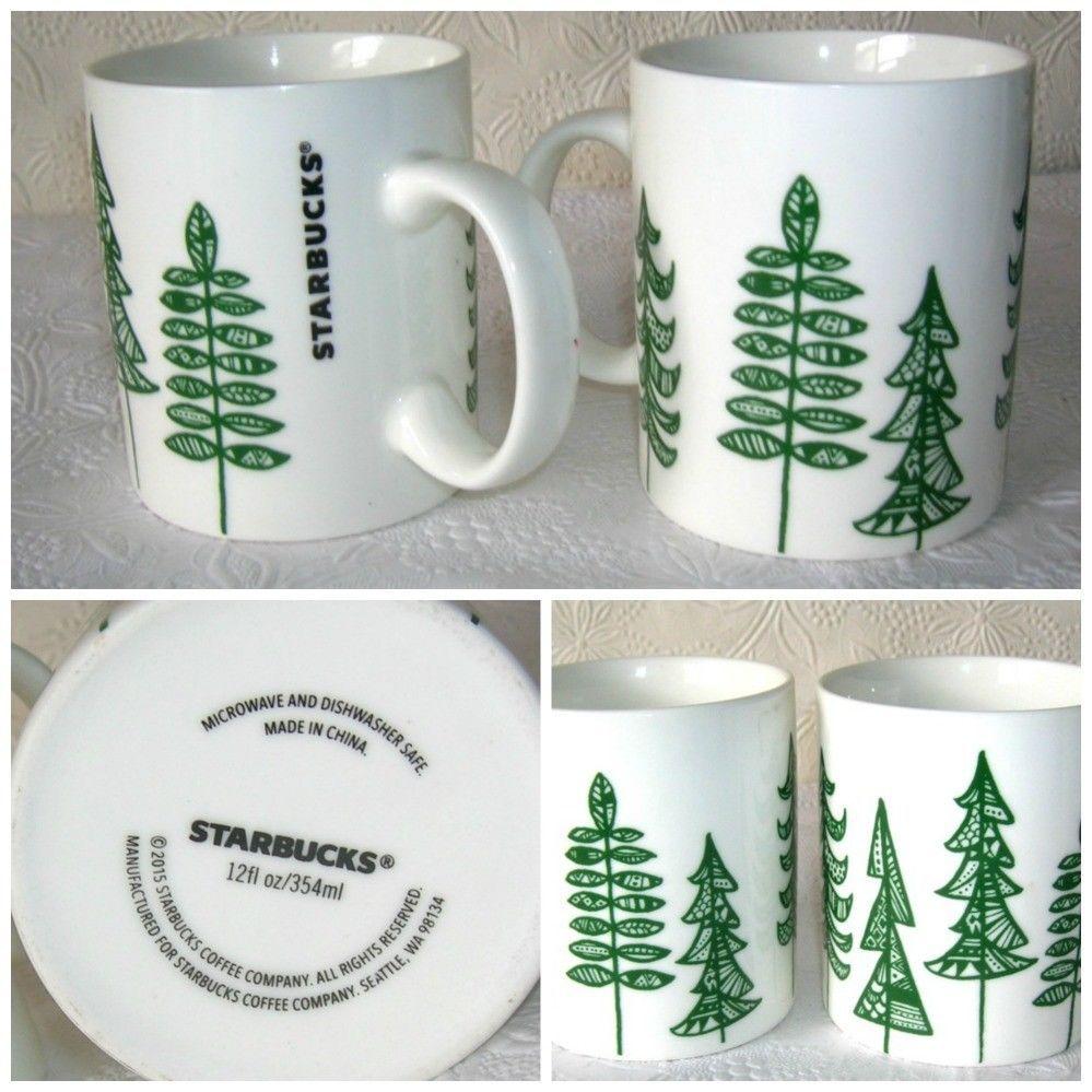 Starbucks Holiday Coffee Mug Cup Christmas Trees 2015 Holiday Set Of 2 Holiday Coffee Christmas Mugs Starbucks Christmas