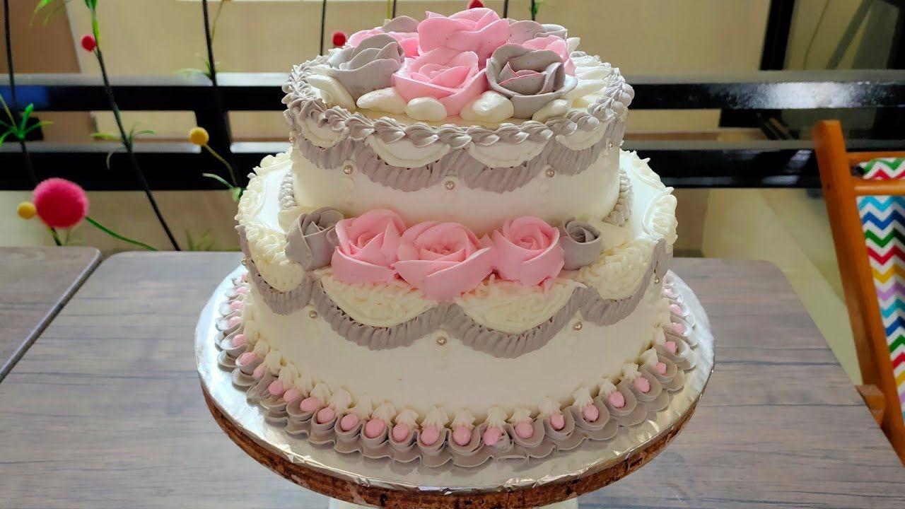 Wedding Cake Dua Tingkat Grey Pink Roses Lapis Malang Dan