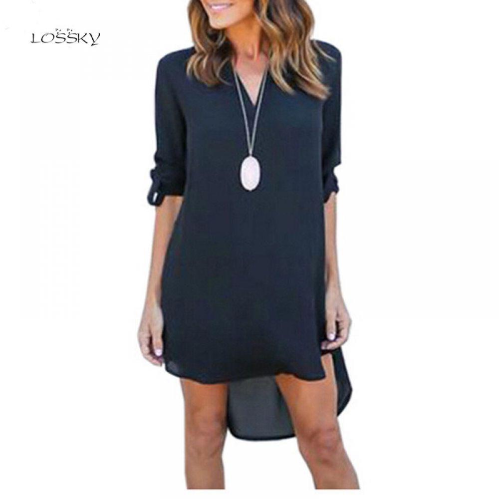 f2842d21d8ee Autumn Oversized Women V Neck Chiffon Dress Long Sleeve Loose Mini Tunic Shirt  Dress Asymmetric Front