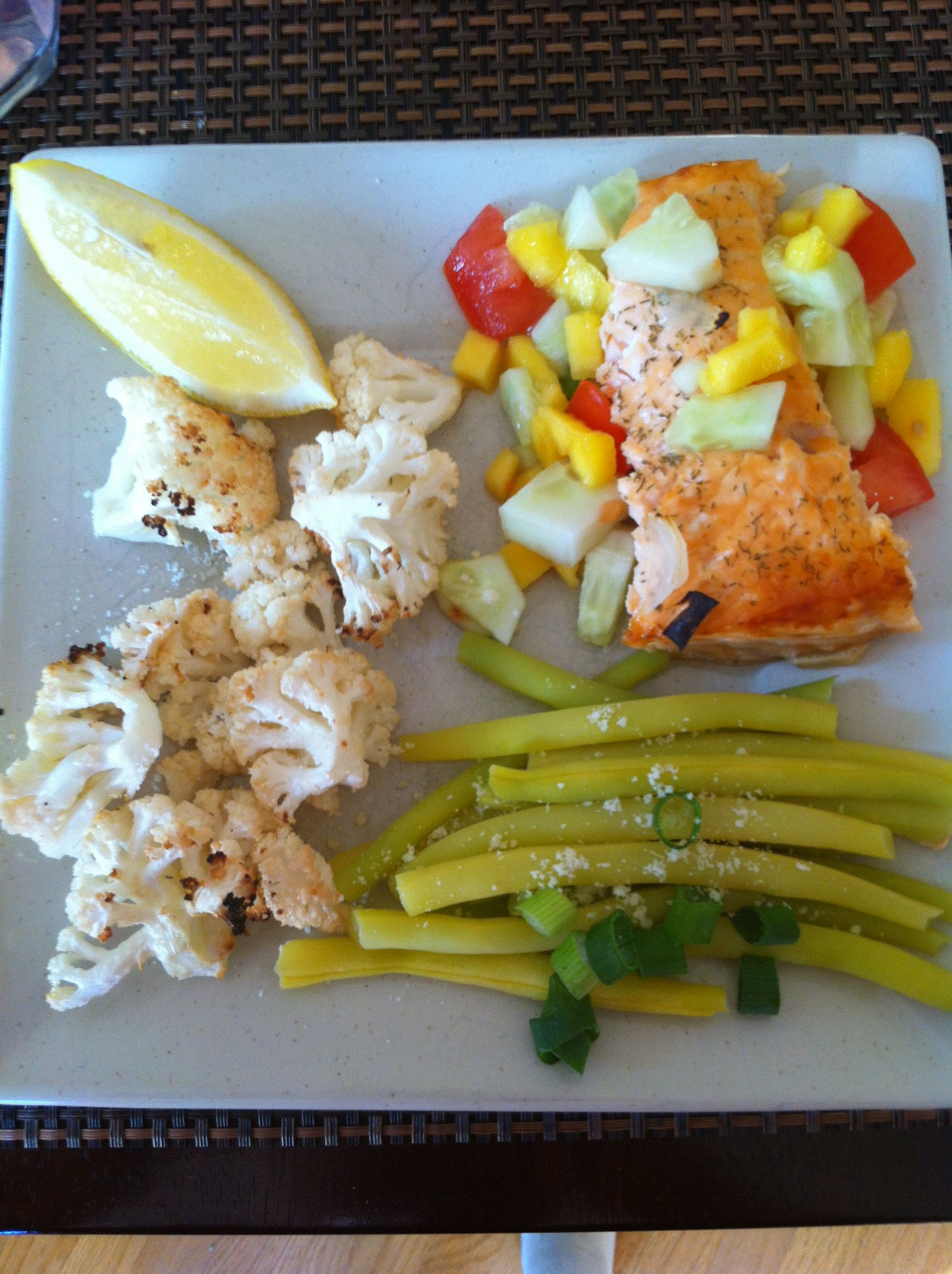 Photo of Oven roasted salmon topped with chopped fresh mango, cucumber and dill salsa, pa…