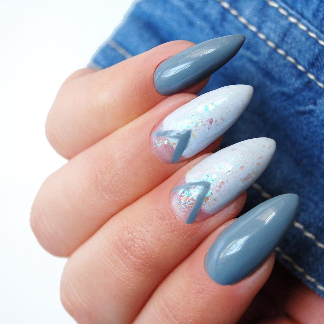 Blekitne Paznokcie Hybrydowe Star Glow Neonail Fashion Nails
