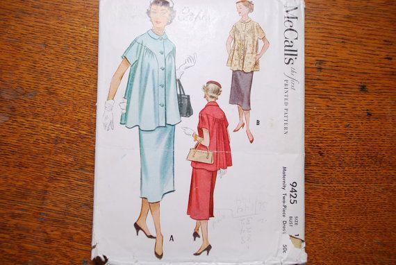 Vintage 1950s McCalls Maternity Dress Pattern by Nogginsandnapes, $9.00