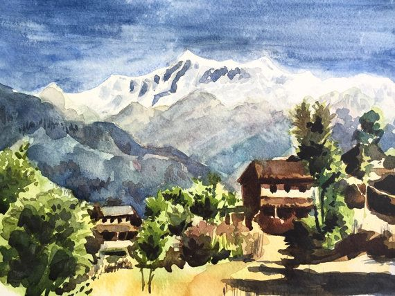 Himalayan Village Nepal Watercolor Painting By Joseph D Silva