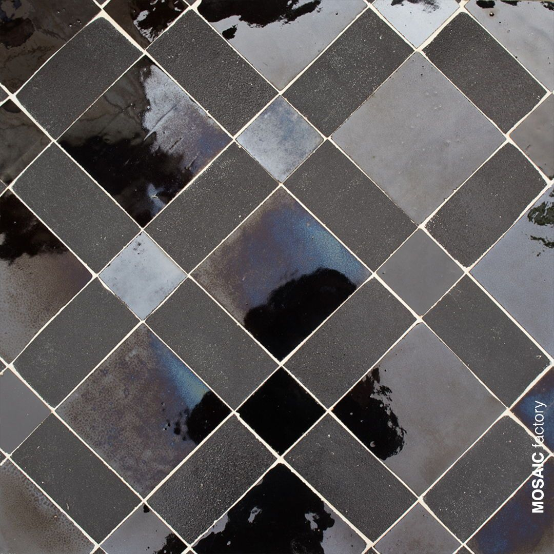 Matt And Shiny Black Wall Tiles From Mosaic Factory Zellige Collection Our Handmade Moroccan Tiles Are Available In Black Wall Tiles Color Tile Handmade Tiles