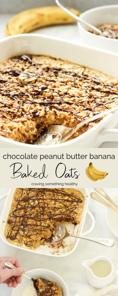 Chocolate Peanut Butter And Banana Baked Oats Craving Something Healthy Recipe In 2020 Peanut Butter Powder Recipes Baked Oats Pb2 Recipes
