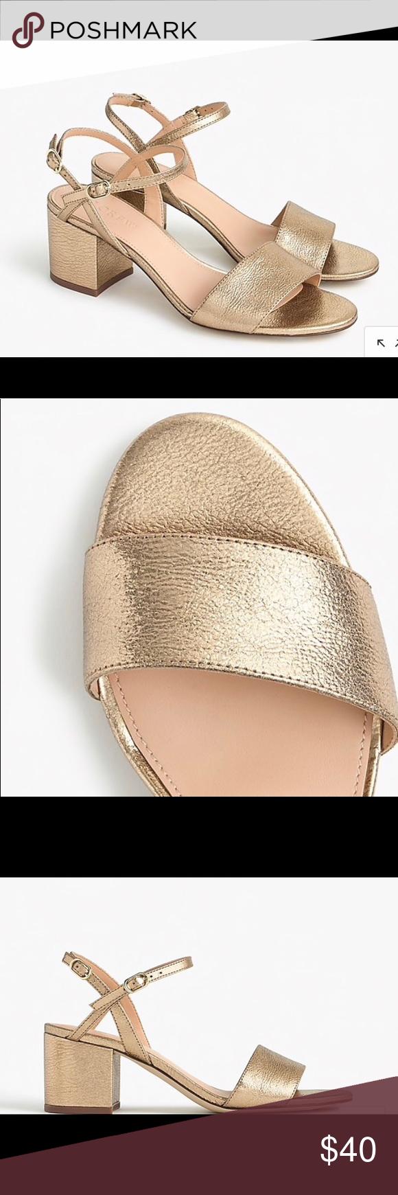 c52697ec6e5 Jcrew Gold Sandals Strappy block-heel sandals (60mm) in metallic ...
