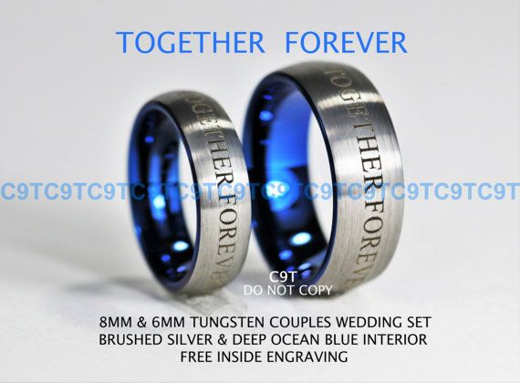 doctor who inspired 6mm 8mm tungsten wedding ring set brushed silver outside deep ocean blue inside - Dr Who Wedding Ring