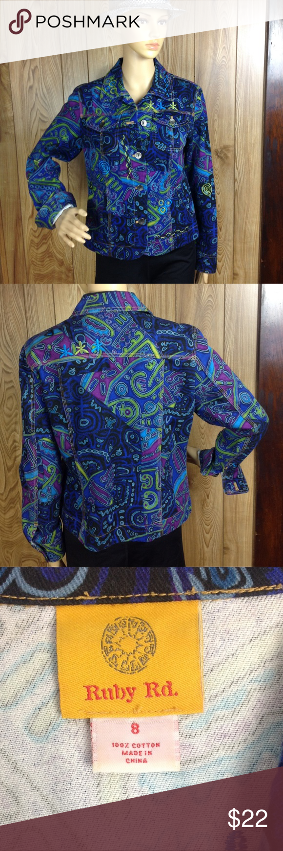 Ruby Rd Multi Colored Print Denim Light Jacket 8