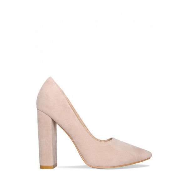 50e985770865 Deena Nude Suede Block Heel Court Shoes   Simmi Shoes (€33) ❤ liked on  Polyvore featuring shoes