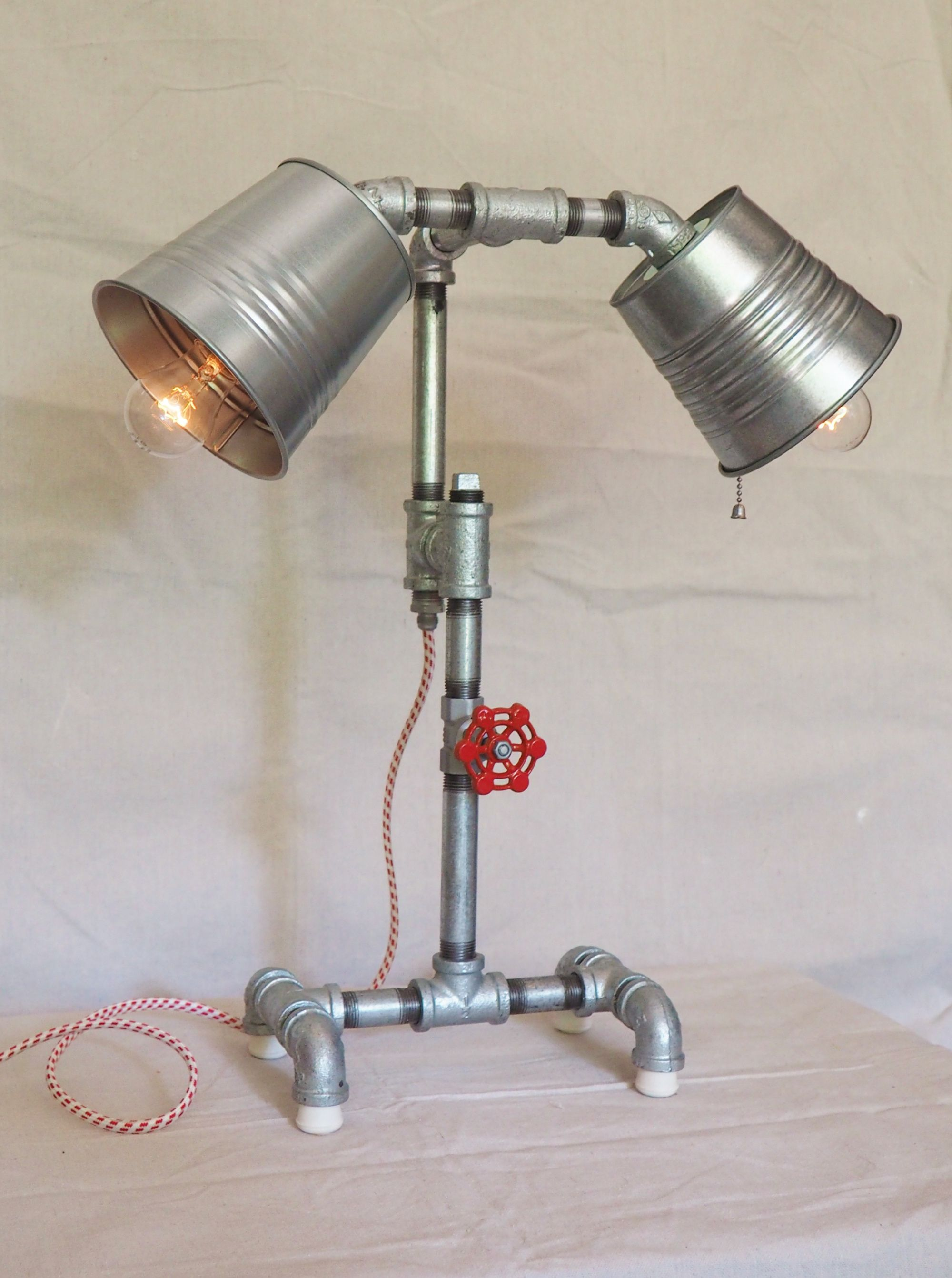 Handcrafted Industrial Pipe Goblet Lamp with nostolgic Lamp Shades in Hazelnut
