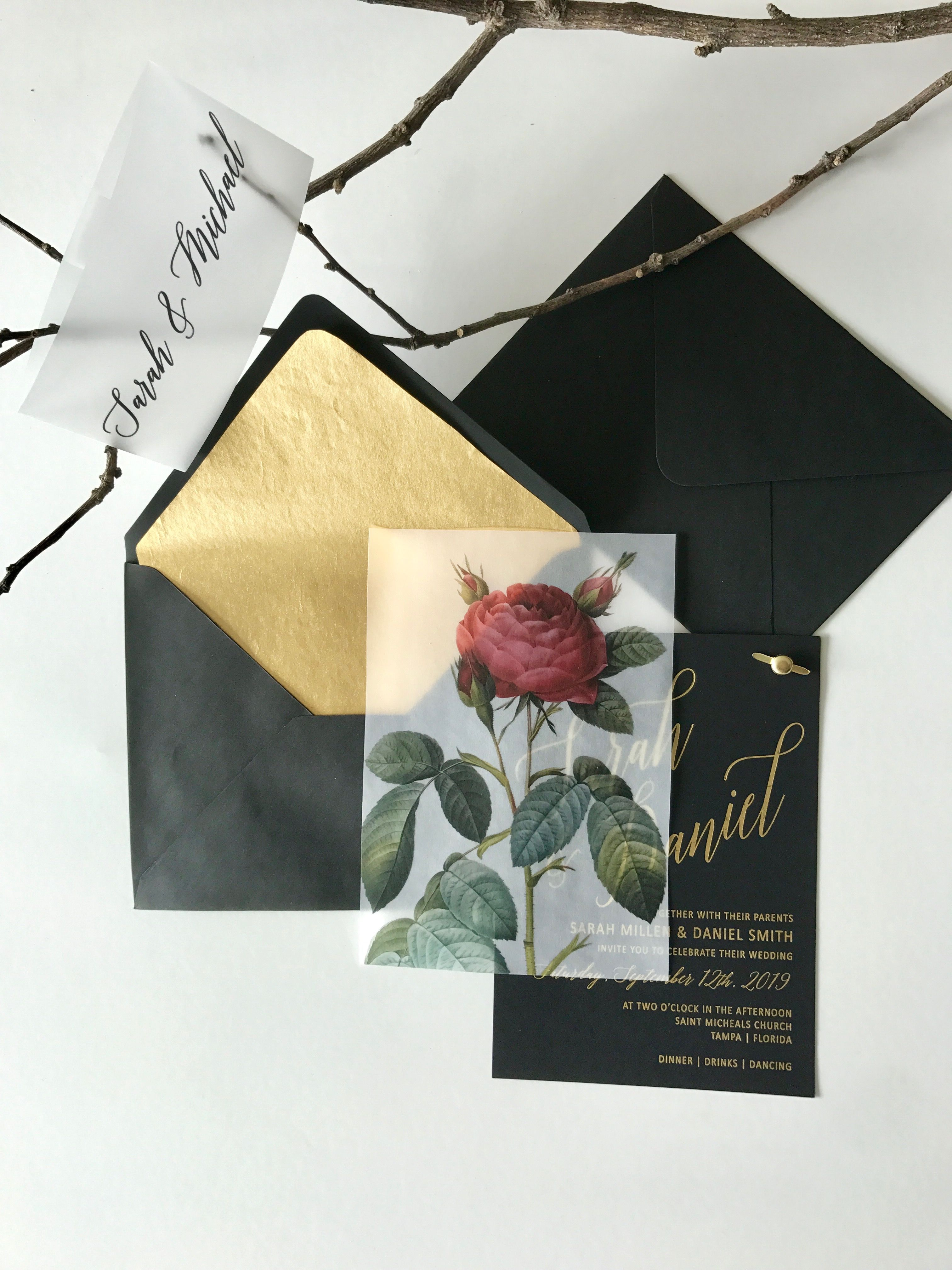Vellum Overlay Black Marsala Wedding Invitations Gold