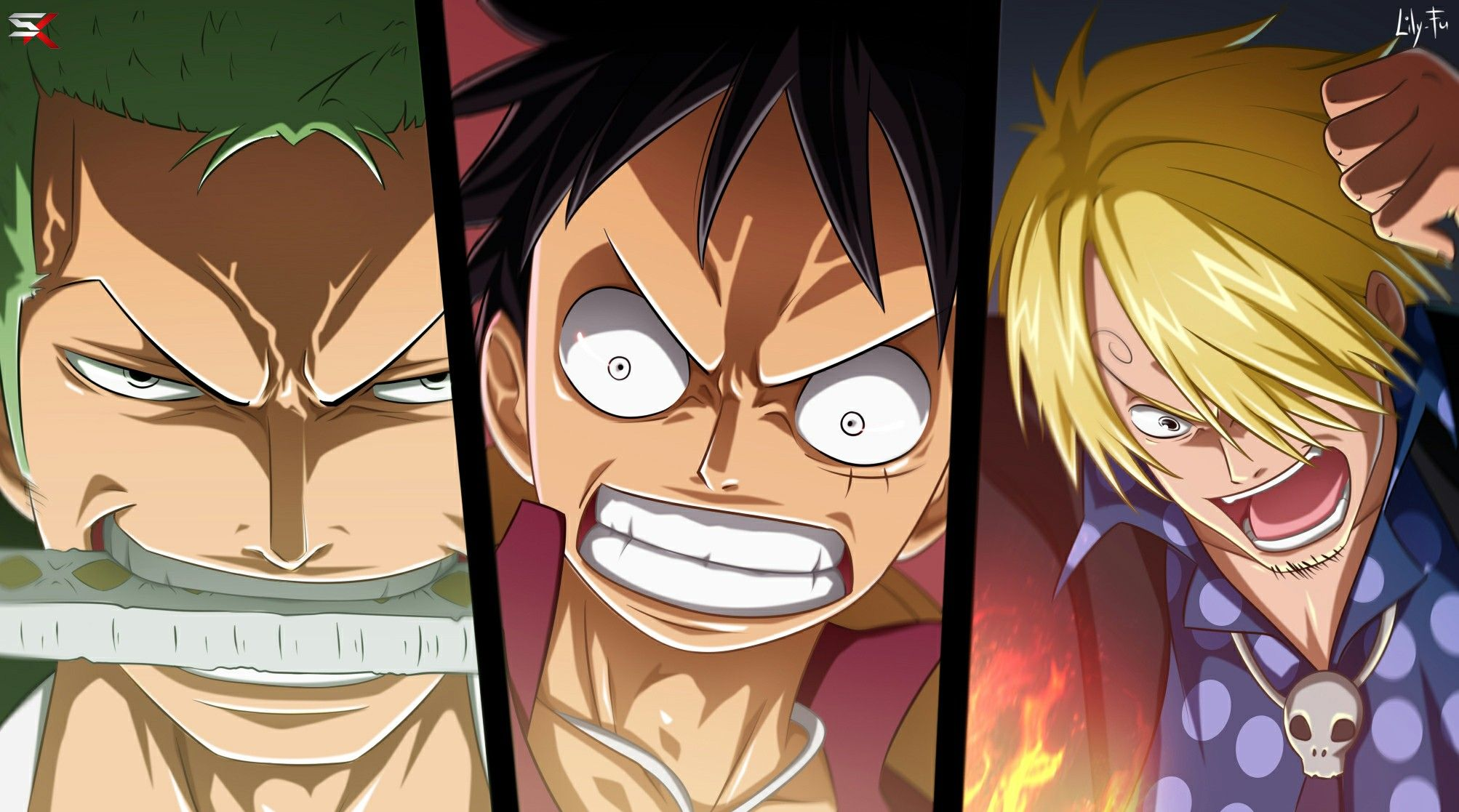 luffy zoro sanji the monster trio angry cool one piece one