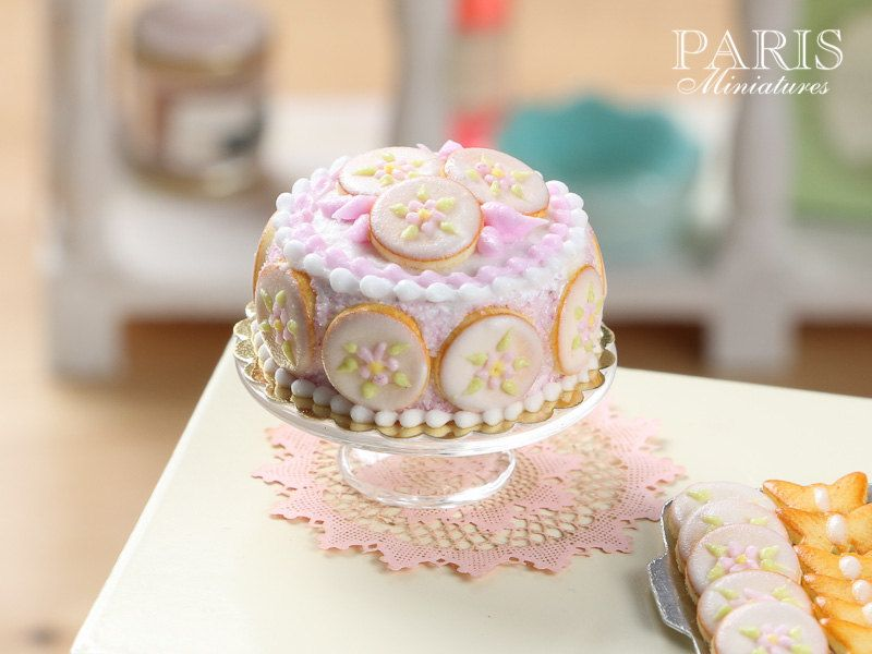 Pink Flower Cookie Cake Miniature Food in 12th by ParisMiniatures