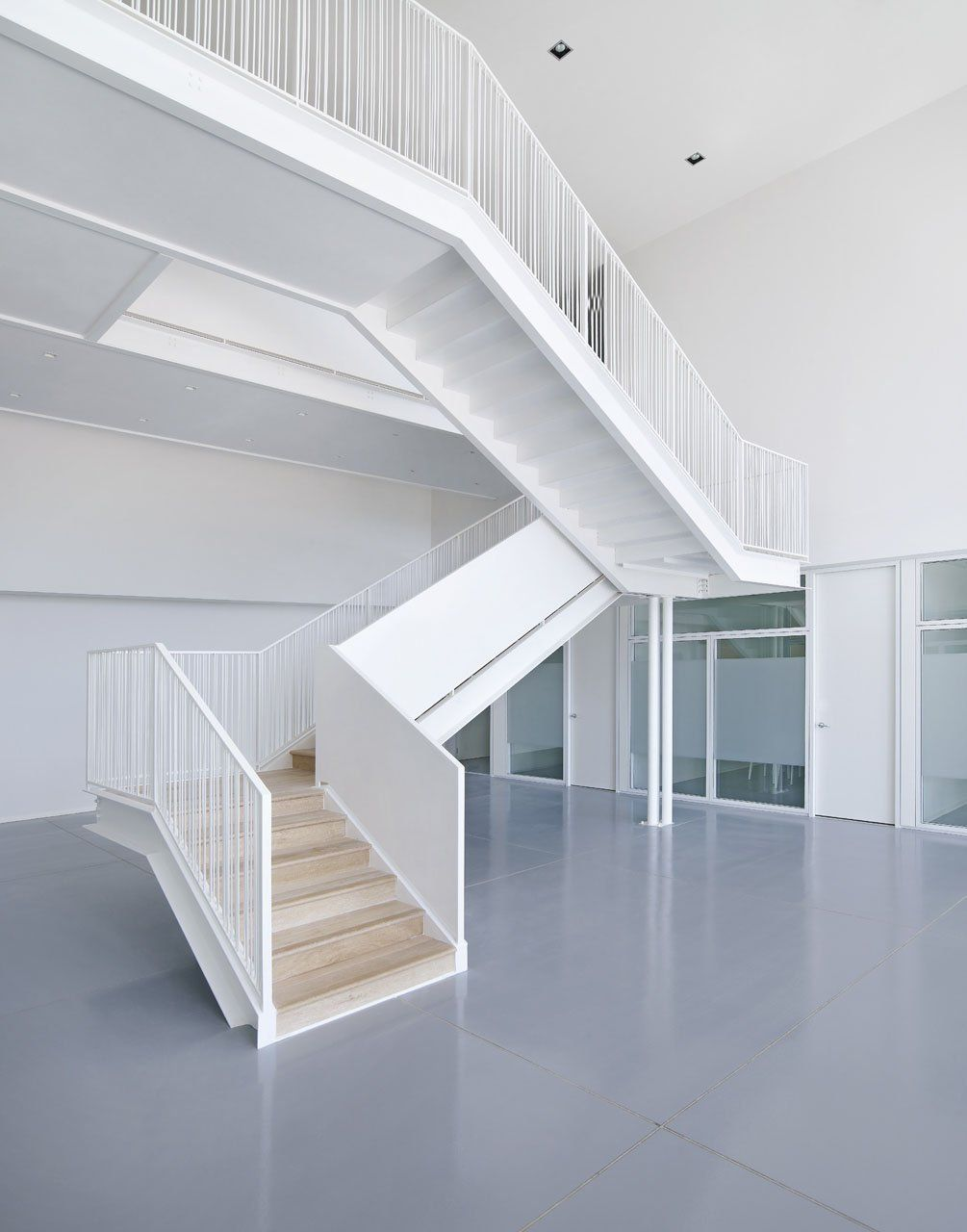 Metal pan stair cool office spaces pinterest for Office stairs design