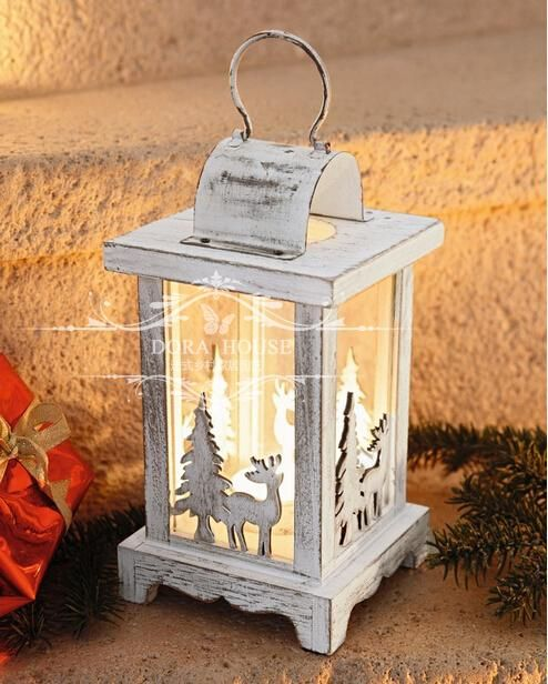 European Mediterranean Country Vintage Wooden Hollow Christmas Reindeer House Decor Candle Lantern Villa Bar Candle Lanterns Wooden Candle Lanterns Lanterns