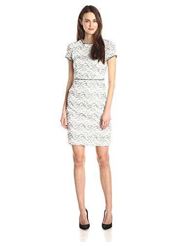 b6010ace Adrianna Papell Women's Cap Sleeve Embellished Lace Sheath Dress,  Ivory/Black, style 011239700